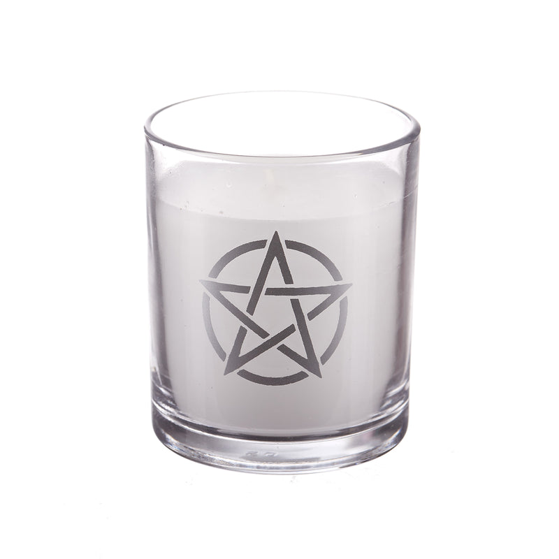 Pentacle Silver Glass Candle Holder (Pack of 1)