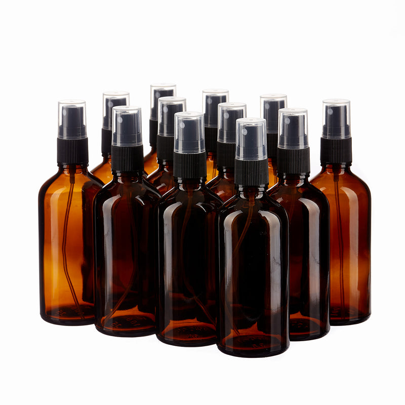 Glass Spray Bottles 100ml  with Cap- 12 pieces ( 1 Dz)