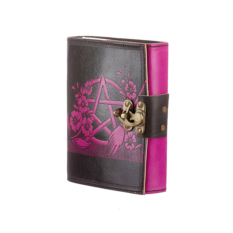 PENTACLE AND FLOWER BLACK AND PINK JOURNAL WITH LATCH