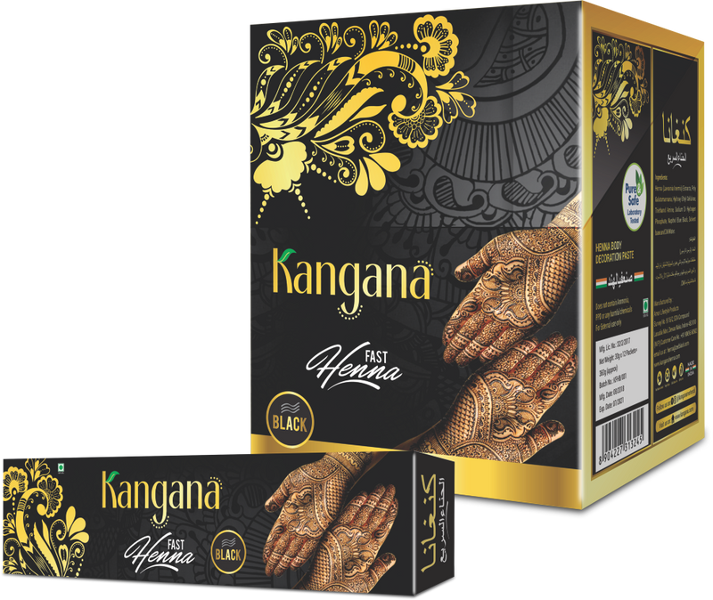 Kangana Fast Henna Tubes - Black (Pack of 12) - The KO Shop Australia Wholesale Suppliers Distributors of New Age Products & Natural Incense