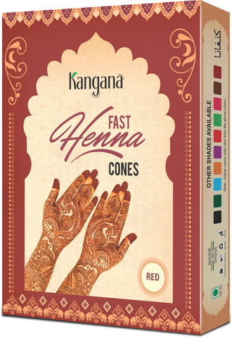 Kangana Fast  Henna Cones - Red (Pack of 12) - The KO Shop Australia New Age Productd