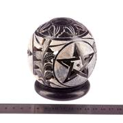 "Candle Holder:IH PENTA 3.5"" Candle Ball Carved Black Stone"