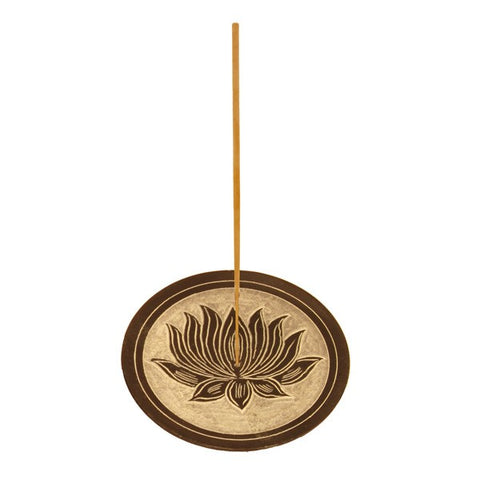 Incense Holder:IH LOTUS Black Stone Disk Ash Catcher- Pack of 2 - The KO Shop Australia New Age Productd