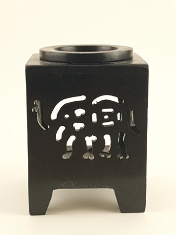 "Oil burner:IH Aroma Lamp 2.5"" Carved Jali, Soapstone Black A - The KO Shop Australia Pty Ltd"