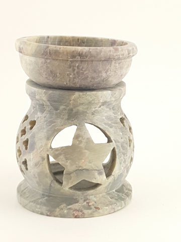 "Oil burner:IH Aroma Lamp 2.5"" Carved Jali, Soapstone Black B - The KO Shop Australia New Age Productd"