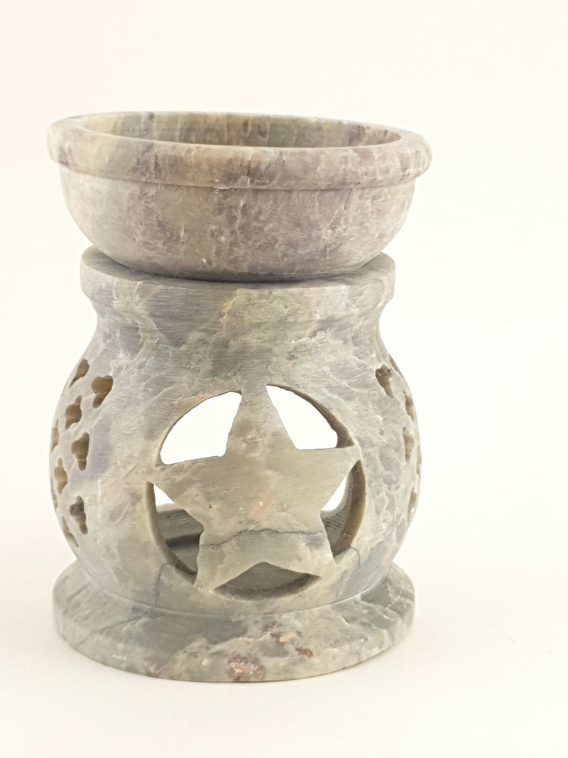 "Oil burner:IH Aroma Lamp 2.5"" Carved Jali, Soapstone Black B - The KO Shop Australia Wholesale Suppliers Distributors of New Age Products & Natural Incense"