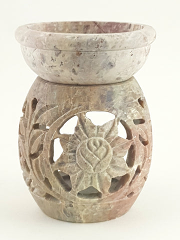 "Oil burner:IH Aroma Lamp 2.5"" Carved Jali, Soapstone Black C - The KO Shop Australia Pty Ltd"