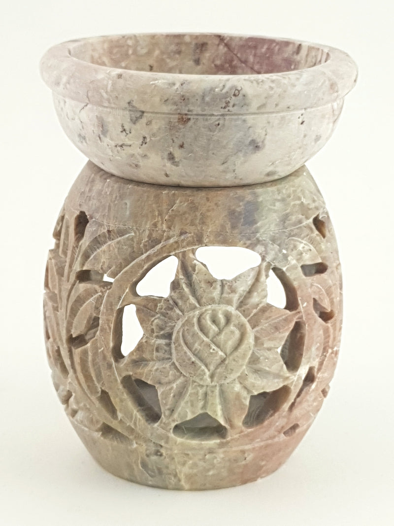 "Oil burner:IH Aroma Lamp 2.5"" Carved Jali, Soapstone Black C - The KO Shop Australia Wholesale Suppliers Distributors of New Age Products & Natural Incense"