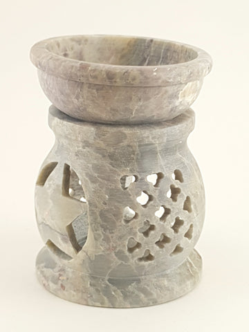 "Oil burner:IH Aroma Lamp 2.5"" Carved Jali, Soapstone Black F - The KO Shop Australia Pty Ltd"