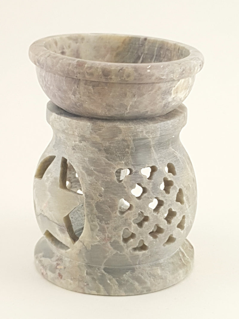"Oil burner:IH Aroma Lamp 2.5"" Carved Jali, Soapstone Black F - The KO Shop Australia Wholesale Suppliers Distributors of New Age Products & Natural Incense"
