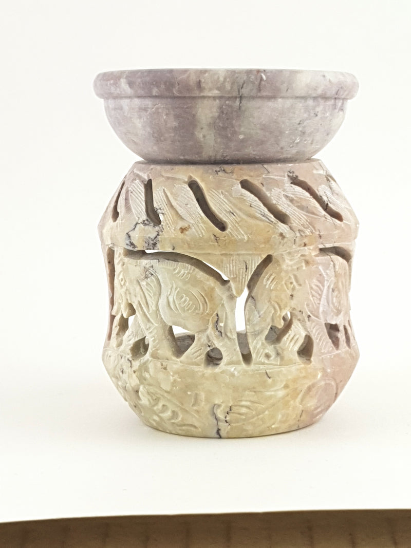 "Oil burner:IH Aroma Lamp 2.5"" Carved Jali, Soapstone Black I - The KO Shop Australia Wholesale Suppliers Distributors of New Age Products & Natural Incense"