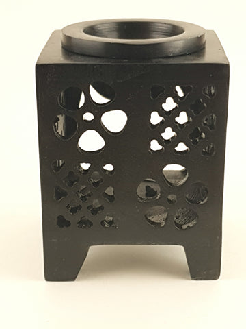 "Oil burner:IH Aroma Lamp 2.5"" Carved Jali, Soapstone Black K - The KO Shop Australia Pty Ltd"