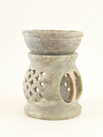 "Oil burner:IH Aroma Lamp 2.5"" Carved Jali, Soapstone Black L - The KO Shop Australia Pty Ltd"