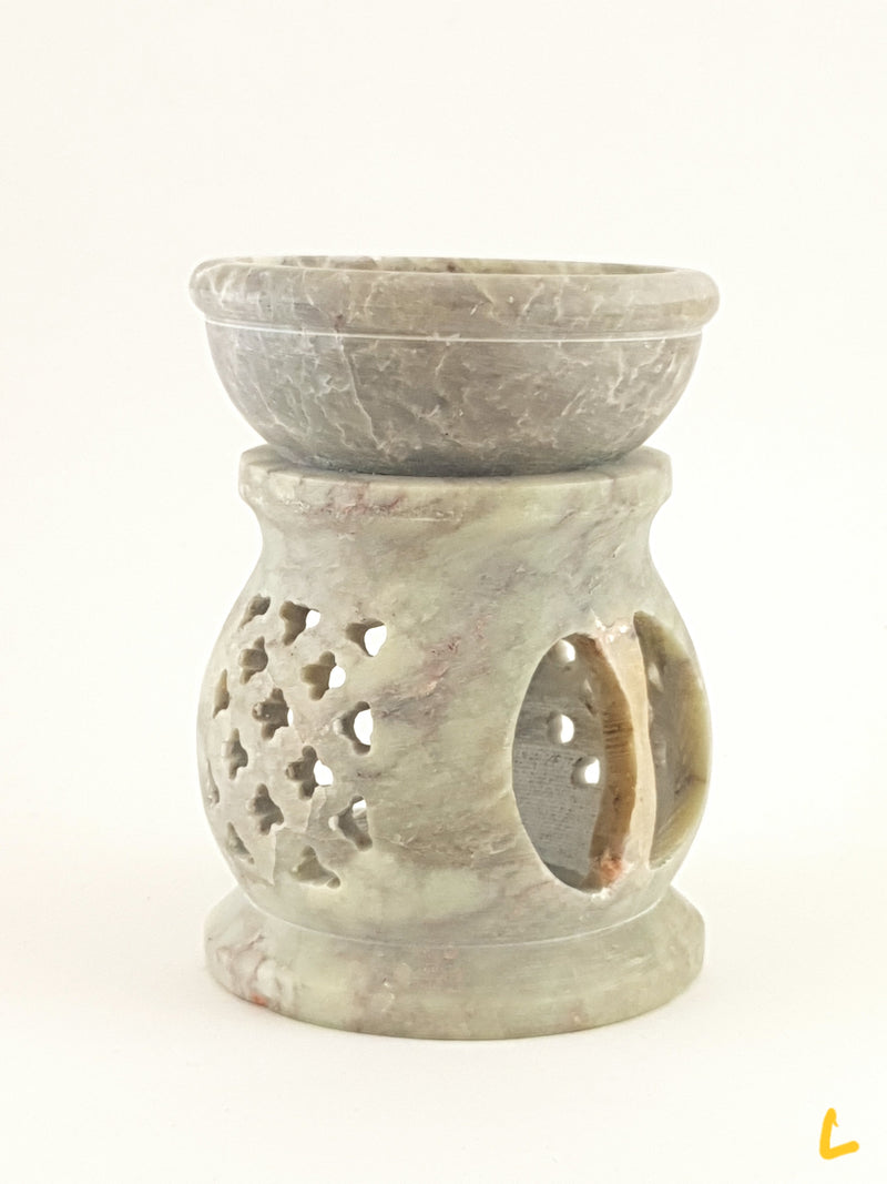 "Oil burner:IH Aroma Lamp 2.5"" Carved Jali, Soapstone Black L - The KO Shop Australia Wholesale Suppliers Distributors of New Age Products & Natural Incense"