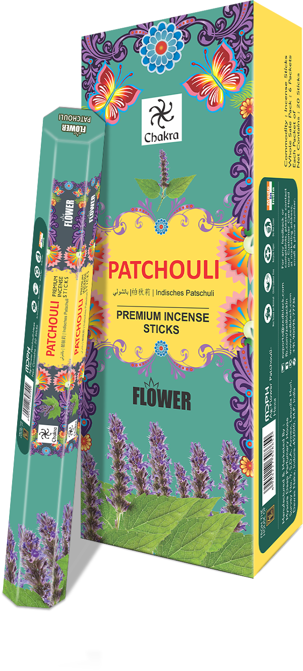 Zed Black Chakra Flower-PATCHOULI ( Pack of 6) Hexa