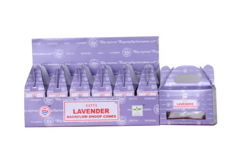 Satya Lavender Back Flow Dhoop  Cone-24 pcs x 6 box - The KO Shop Australia New Age Productd