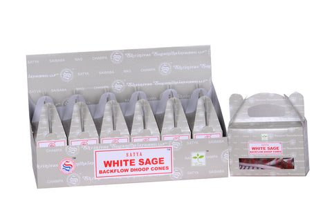 Satya White Sage Back Flow Dhoop  Cone -24 pcs x 6 box - The KO Shop Australia New Age Productd