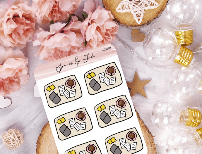 Papers Flatlay Doodle Planner Stickers