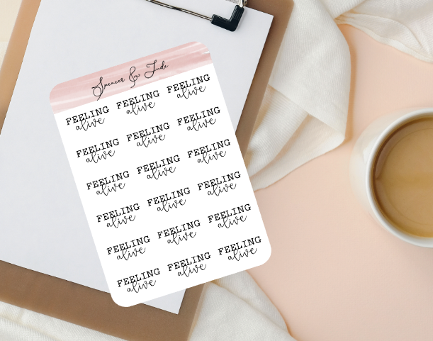 Emotions - Alive - Feeling Word Script Planner Stickers