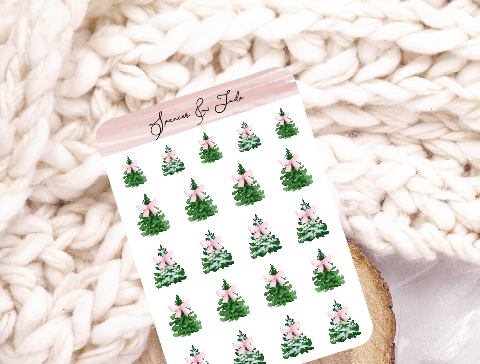 Festive Tree With Pink Bow - Snowy Christmas Tree - Planner Stickers