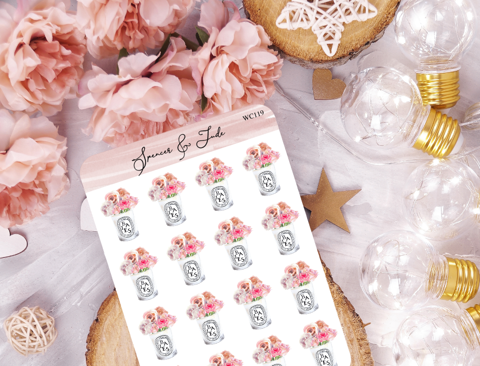 Candle Jar - Roses - Planner Stickers