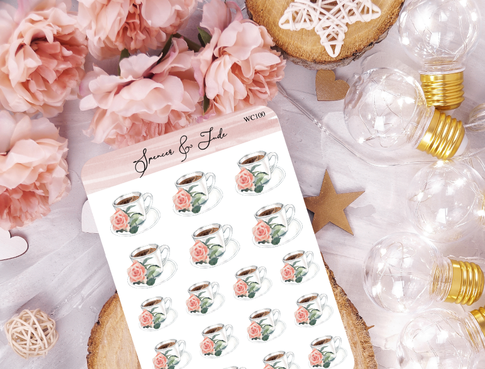Rose Coffee Cup Planner Stickers