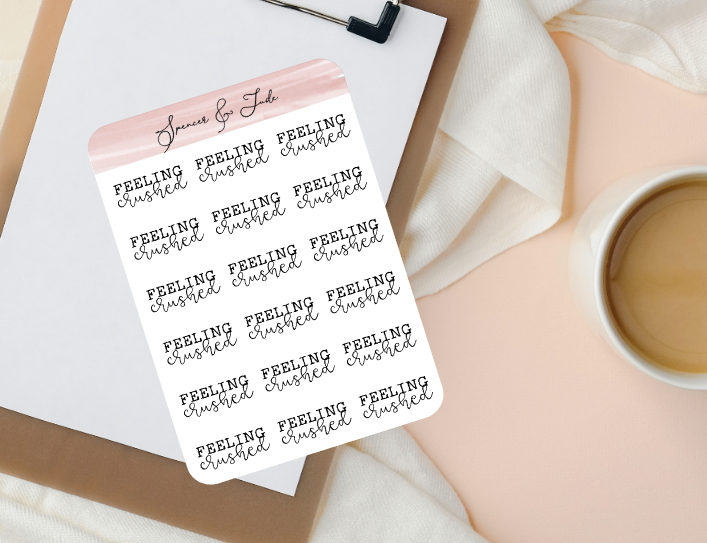 Emotions - Crushed - Feeling Word Script Planner Stickers
