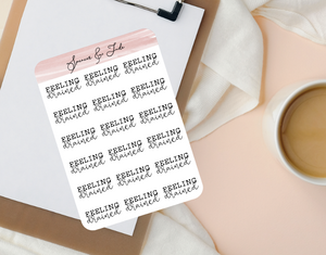 Emotions - Drained - Feeling Word Script Planner Stickers