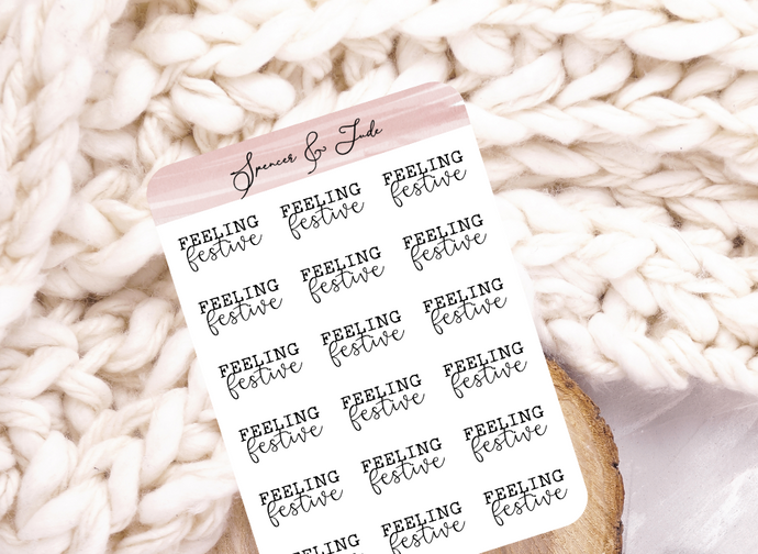 Festive Emotions - Festive - Feeling Word Script Planner Stickers