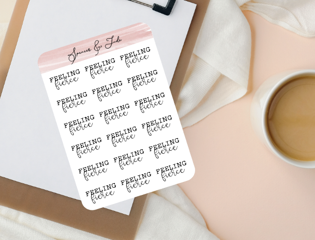 Emotions - Fierce - Feeling Word Script Planner Stickers