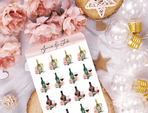 Floral Drinks Planner Stickers