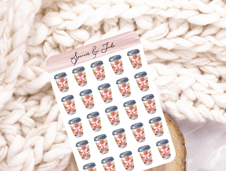 Festive Gingerbread Latte Coffee To Go Planner Stickers