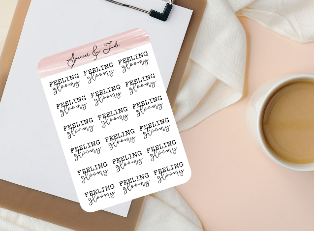 Emotions - Gloomy - Feeling Word Script Planner Stickers