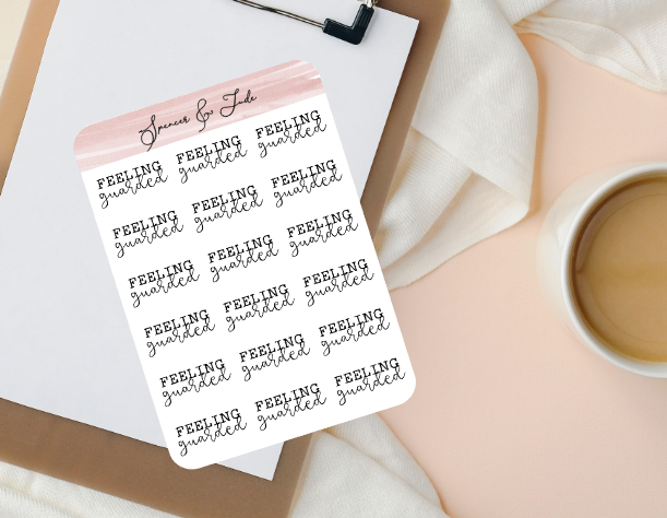Emotions - Guarded - Feeling Word Script Planner Stickers