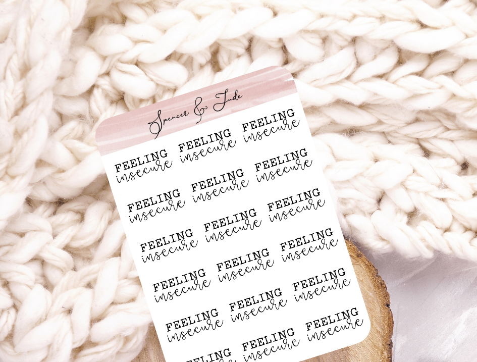 Emotions - Insecure - Feeling Word Script Planner Stickers