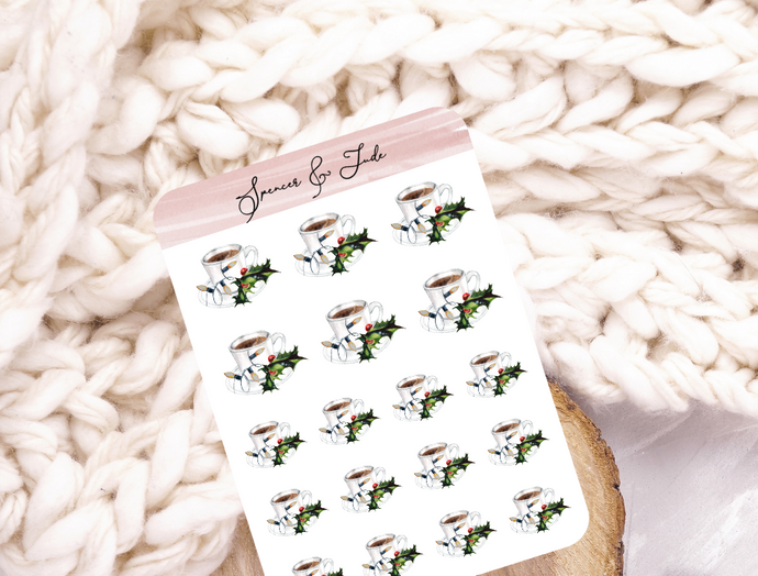 Festive Coffee Cup - Twinkle Lights and Holly - Planner Stickers
