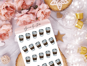 LV Luxury Coffee To Go Planner Stickers
