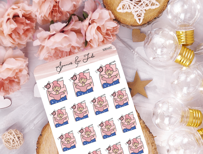Early Morning Girl- Doodle Planner Stickers