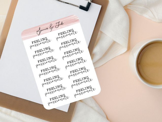 Emotions - Passionate - Feeling Word Script Planner Stickers
