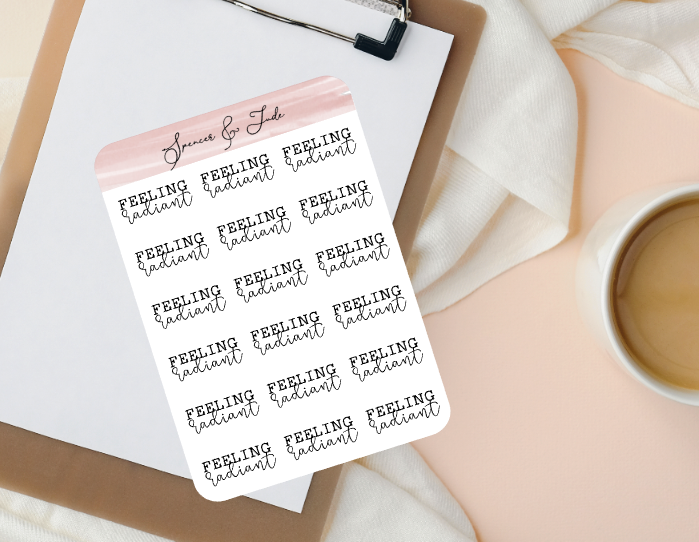Emotions - Radiant - Feeling Word Script Planner Stickers