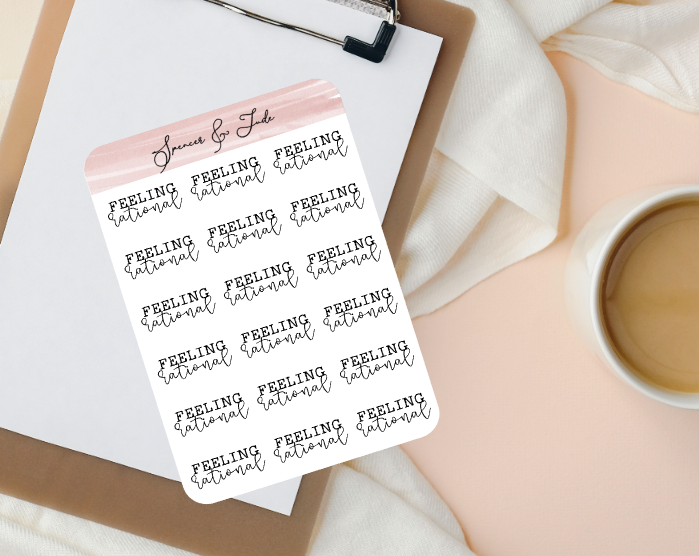 Emotions - Rational - Feeling Word Script Planner Stickers