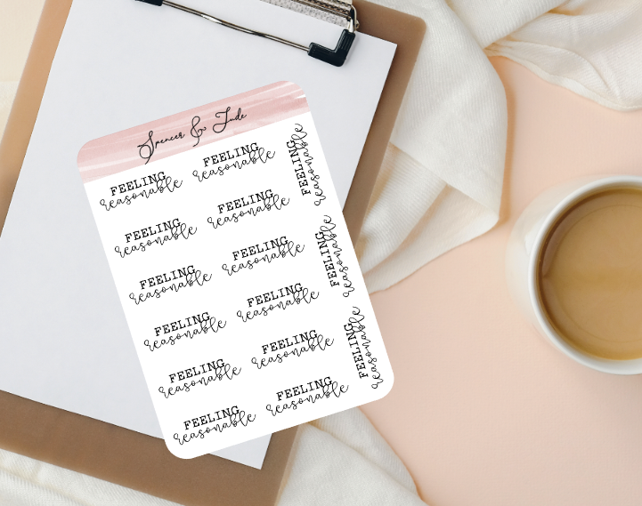 Emotions - Reasonable - Feeling Word Script Planner Stickers