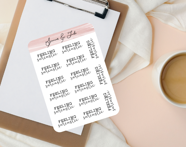 Emotions - Sarcastic - Feeling Word Script Planner Stickers