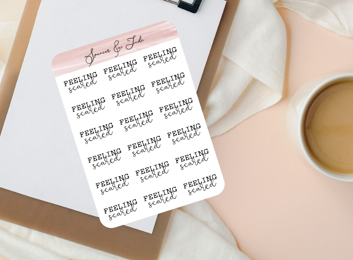 Emotions - Scared - Feeling Word Script Planner Stickers