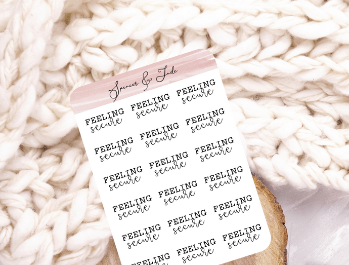 Emotions - Secure - Feeling Word Script Planner Stickers