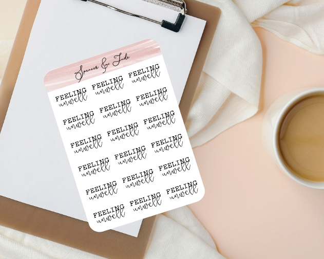 Emotions - Unwell - Feeling Word Script Planner Stickers
