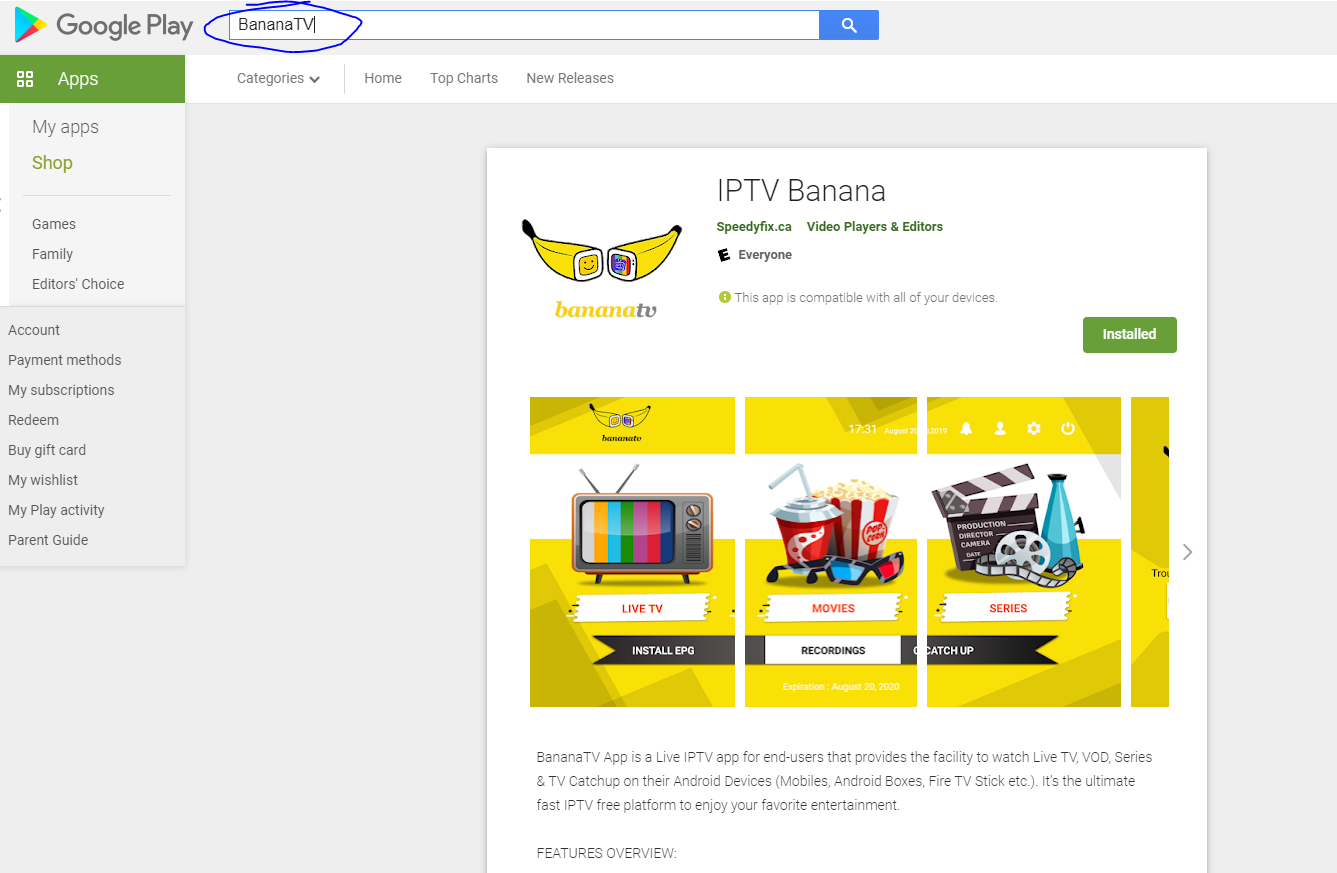 BananaTV application in google play store