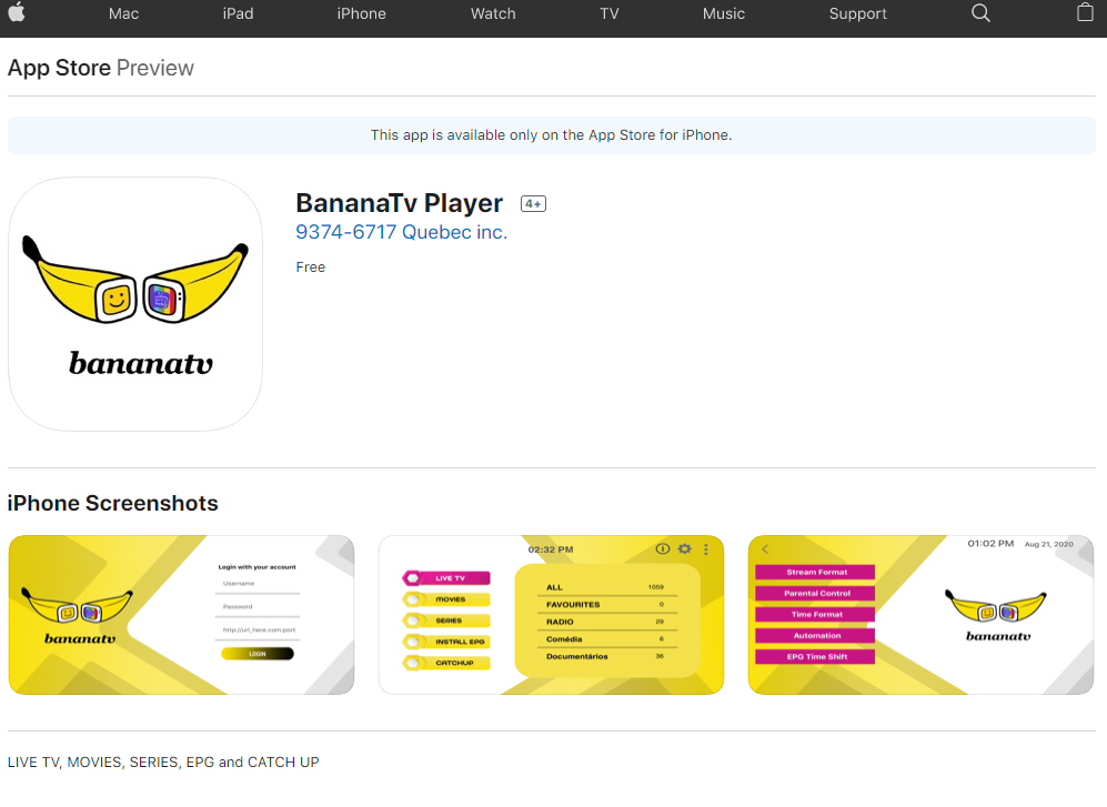 BananaTV Player for ios applle tv