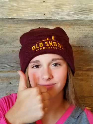 OSB stocking hat in maroon and gold