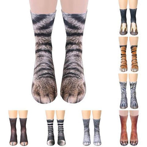 This series of Animal Paw Print Socks allows you turn your feet into the paws of your favorite animal